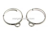 Baza inel cu o bucla, argint 925 placat cu rodiu, reglabil - x1
