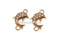 Link delfin cu cristale, argint 925 placat aur roz, 10mm - x1