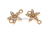 Link floare cu cristale, argint 925 placat aur roz, 9.5mm - x1
