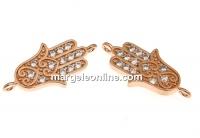 Link Mana lui Fatima cu cristale, argint 925 placat aur roz, 17mm - x1