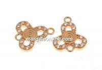 Link trifoi cu cristale, argint 925 placat aur roz, 10.5mm - x1