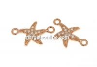 Link stea de mare cu cristale, argint 925 placat cu aur roz, 15mm  - x1