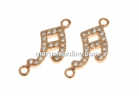Link nota muzicala cu cristale, argint 925 placat cu aur roz, 16mm  - x1