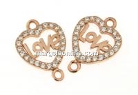 Link inima cu cristale, argint 925 placat cu aur roz, 16mm  - x1