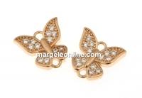 Link fluture cu cristale, argint 925 placat cu aur roz, 9mm - x1