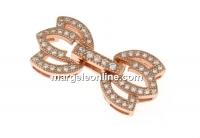 Incuietoare cu cristale, argint 925 placat cu aur roz, 22x12mm - x1