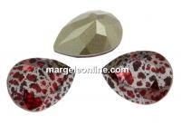 Swarovski, fancy picatura, scarlet silver patina, 14x10mm - x1