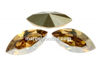 Swarovski navette, fancy chaton, golden shadow, 8mm - x4
