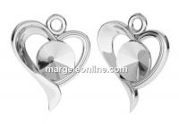 Baza pandantiv argint 925, inima, pentru rivoli 6mm - x1