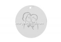 Pandantiv banut mama si copilul argint 925, 18mm  - x1