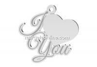 Pandantiv pentru gravat, I love you, argint 925, 19mm  - x1