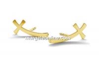 Tortite cercei cruce, argint 925 placat cu aur - x1per