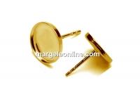 Tortite cercei tija argint 925 pl cu aur, cabochon 10mm - x1per