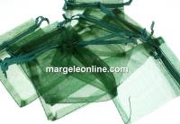 Saculet organza, verde padure, 9x7cm - x20