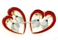 Brosa metalica martisor traditional, inima cu ghiocei - x2