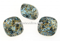 Swarovski, fancy square, aquamarine gold patina, 12mm - x1