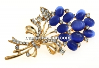 Brosa, buchet flori, albastru, 69mm - x1