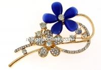 Brosa, floare, albastru, 67mm - x1