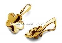 Pendant base, gold plated 925 silver, Swarovski flower 10mm - x1