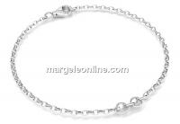 Bratara cu zale ovale pt linkuri +zale prindere argint 925, 15cm - x1