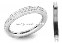 Ring base, pavé 925 silver,16mm, for Swarovski crystals - x1