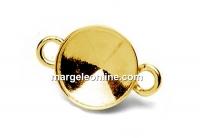 Link, base, bordered, gold-plated 925 silver, rivoli Swarovski 8mm - x2