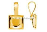 Pendant base, gold plated 925 silver, for square cabochon 10mm - x1