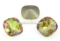 Swarovski, square fancy, luminous green, 10mm - x1