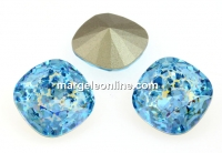 Swarovski, fancy square, aquamarine white patina, 12mm - x1