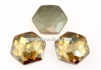 Swarovski 4683, fantasy hexagon, golden shadow, 8mm - x2