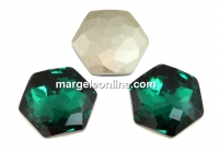 Swarovski 4683, fantasy hexagon, emerald, 14mm - x1