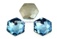 Swarovski 4683, fantasy hexagon, aquamarine, 14mm - x1