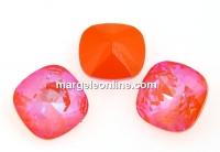 Swarovski, square fancy, Orange Glow DeLite, 12mm - x1