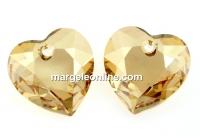 Swarovski, pandantiv inima, golden shadow, 10.5mm - x2