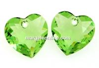 Swarovski, heart pendant, peridot, 10.5mm - x2