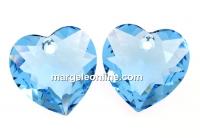 Swarovski, pandantiv inima, aquamarine, 10.5mm - x2