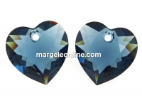 Swarovski, heart pendant, montana, 8mm - x2