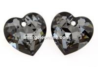 Swarovski, heart pendant, silver night, 14.5mm - x1
