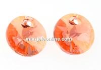Swarovski, rivoli pendant,  rose peach shimmer, 8mm - x4