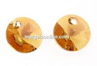 Swarovski, rivoli pendant,  light colorado topaz shimmer, 8mm - x4
