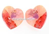 Swarovski, pandantiv inima, rose peach shimmer, 14mm - x2