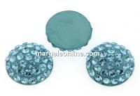 Swarovski, cabochon pave, aquamarine, 12mm - x1