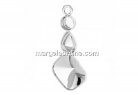 Pendant base, 925 silver, ceralun and fancy drop and square - x1