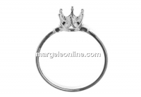 Ring base, 925 silver, chaton 6mm, inside 17.6mm - x1