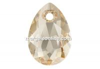 Swarovski, drop pendant, golden shadow, 16mm - x1