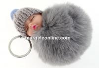 Breloc pentru geanta, bebe puf, gri argintiu, 10cm - x1