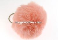 Breloc pentru geanta, mini puf, peach, 7cm - x1
