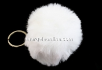 Breloc pentru geanta, maxi puf, alb, 9cm - x1