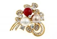 Brosa, floare cu cristale si perle, 48x44mm - x1