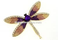 Brosa, libelula cu cristale, 64x53mm - x1